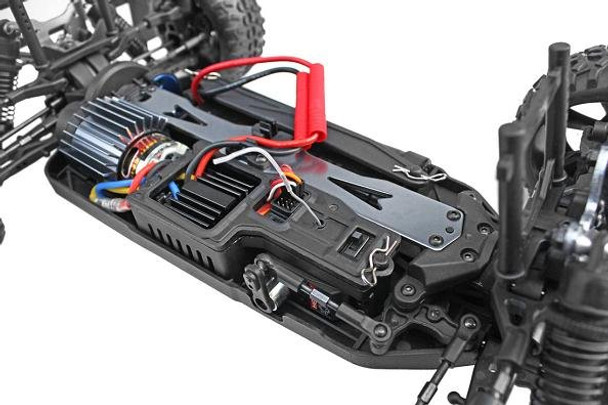 Redcat Racing Blackout SC RTR chassis showing electronics