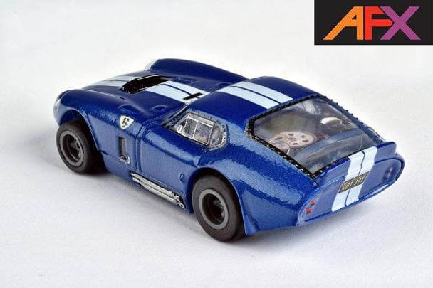 Rear end view of the AFX Mega-G+ Shelby Cobra Limited Edition HO slot car