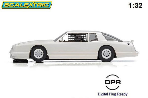 Scalextric 1986 Chevrolet Monte Carlo plain white 1/32 slot car side view