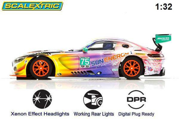 Scalextric Mercedes AMG GT3 Daytona 24 Hours 2017 1/32 slot car side view