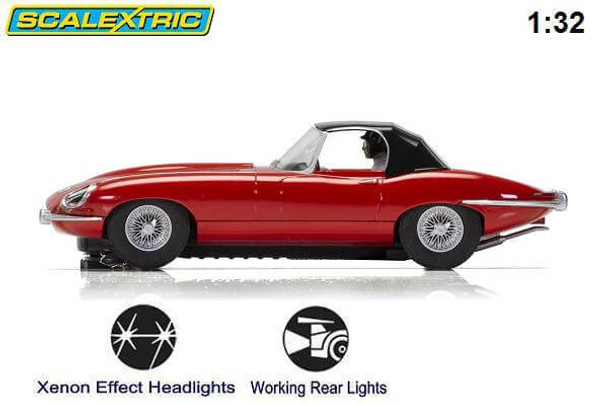 Scalextric Jaguar E-Type - Red 1/32 slot car side view