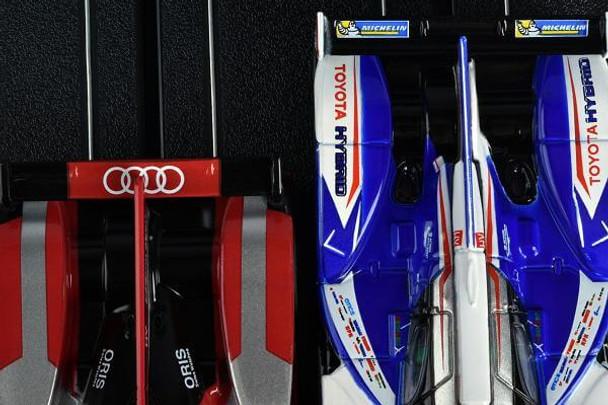 AFX Mega-G+ Toyota TS040 Hybrid and Audi R18 LMP HO slot car top view