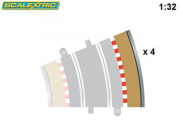 Scalextric R3 22.5 degree outer curve border with silver guardrail C8224