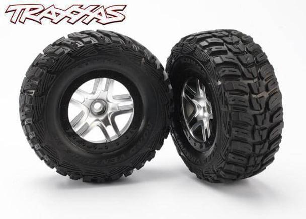 Traxxas 6874 Slash 4x4 / Slash 2wd rear mounted Kumho tires on split-spoke wheels