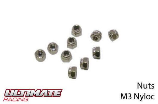 Ultimate Racing M3 nylon locknuts