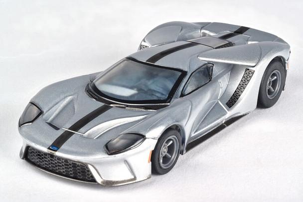 AFX Mega-G+ Ford GT silver with black stripes HO scale slot car 22012