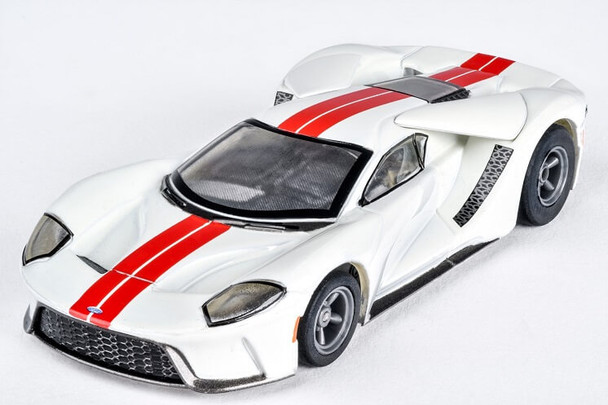 AFX Mega-G+ Ford GT white with red stripes HO scale slot car 22021