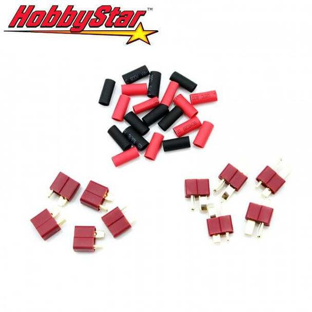 HobbyStar 5 sets of Deans T-Plug connectors with shrink tubing