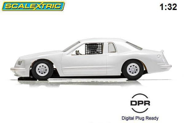 Scalextric Ford Thunderbird plain white 1/32 slot car side view