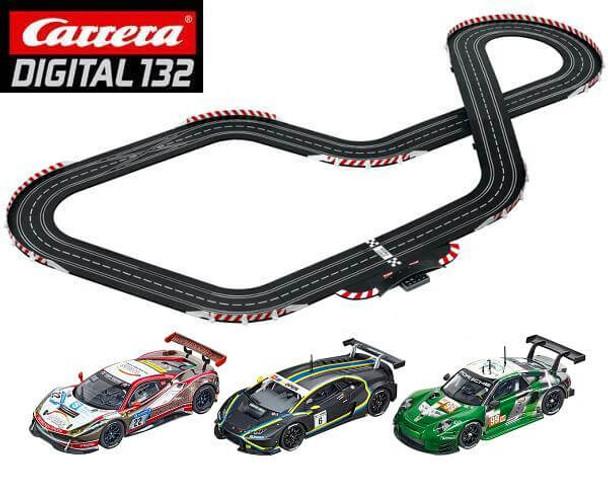 Carrera DIGITAL 132 GT Triple Power track layout with Ferrari 488 GT3, Lamborghini Huracán GT3 and Porsche 911 RSR 1/32 slot cars