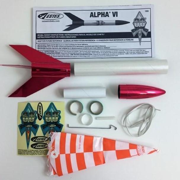 Estes Alpha VI flying model rocket kit components