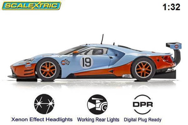 Scalextric Ford GT GTE Gulf 1/32 slot car side view