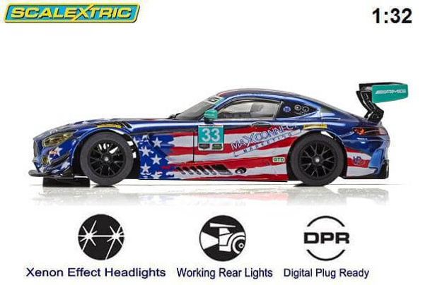 Scalextric Mercedes AMG GT3 Riley Motorsports Team 1/32 slot car side view