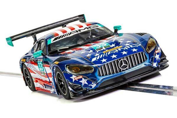 Scalextric Mercedes AMG GT3 Riley Motorsports Team 1/32 slot car front end view