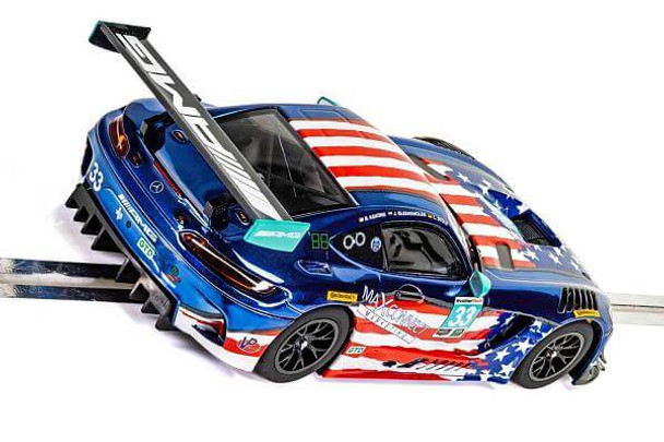 Scalextric Mercedes AMG GT3 Riley Motorsports Team 1/32 slot car rear end view