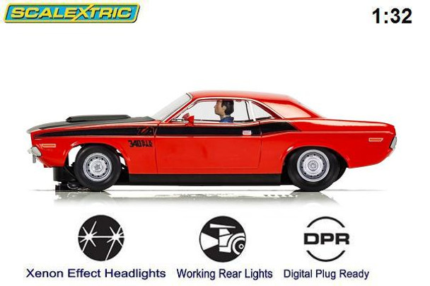 Scalextric 1970 Dodge Challenger T/A 1/32 slot car side view
