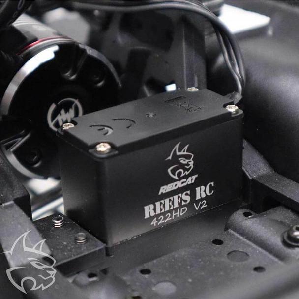 Redcat Racing Gen8 Scout II AXE edition showing installed Reefs RC 422HD V2 metal gear waterproof servo