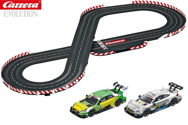 Carrera Evolution DTM Speed Duel track layout with Audi RS 5 & Mercedes AMG C 63 DTM 1/32 slot cars