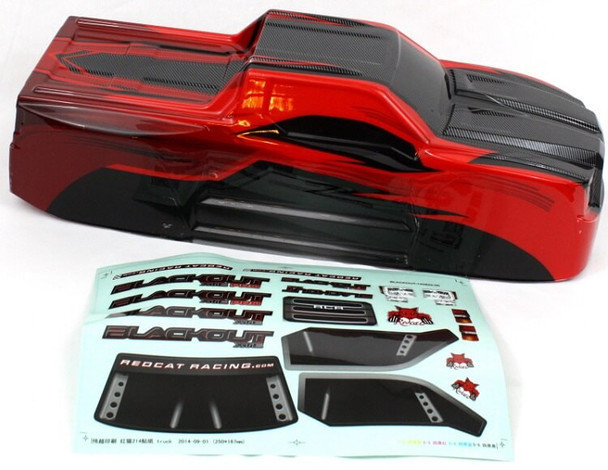 Redcat Racing Blackout XTE truck body with decal sheet BS214-003T-Red