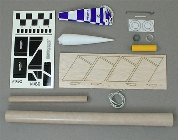 Estes Nike-X flying model rocket kit components