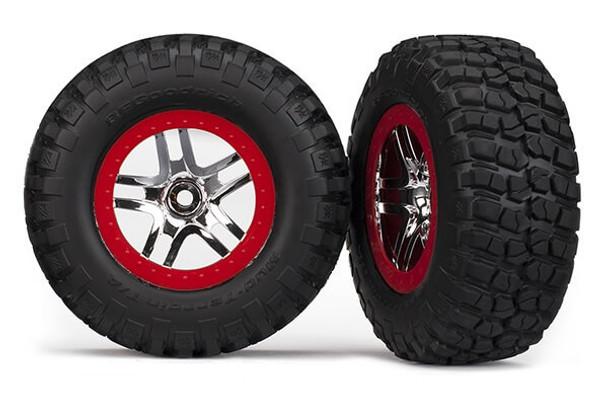 Traxxas Slash 4x4 / Slash 2wd rear KM2 tire & wheel set 6873A