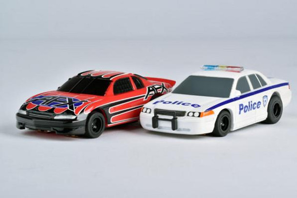 It's game on with these AFX Police Chaser Mega-G+ slot cars. Will the Monte Carlo street racer be able to get away from the determined Police cruiser? It's a chase that's sure to be full of suspense!