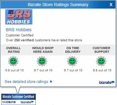 BRS Hobbies Bizrate ratings for 11/26/2019