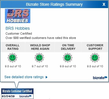 BRS Hobbies Bizrate store ratings summary for 2/24/2020