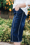 Kayla Fringed Denim Skirt Dark Wash