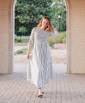 Amanda Ivory-Black Stripe High Low Hem Dress