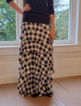 7 Layer Ruffle Maxi Skirt Black Buffalo Check