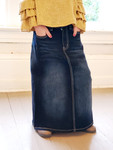 Ashlynn Long Modest Denim Skirt Dark Wash *Girls*