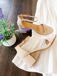 Nude Block Heel Shoes Sandals