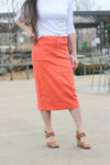 Colored Denim Skirt Coral  *Womens*