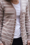 Courtney Snap Cardigan in Taupe Stripe