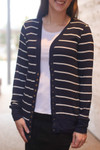 Courtney Snap Cardigan in Navy Stripe