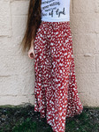 Floral Fancy Pleated Maxi Skirt *Rust*