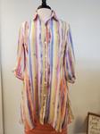 Chelsea High Low Button Shirt Top Pastel Stripe