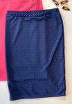 Klassy Girl Longer Length Pencil Skirt Jaquard Stripe *Navy*