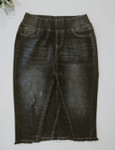 Amy Black Wash Distressed Midi Denim Skirt