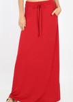 Maxi Length Drawstring Skirt *Red*