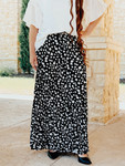 Floral Fancy Pleated Maxi Skirt *Black*