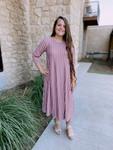 Nothing But Class Mauve Stripe Swing Dress