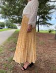 Cheetah Print Pleated Maxi Skirt *Mustard*