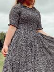 Eliza Floral Smocked Twirl Dress *Black*