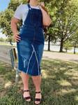 Riley Distressed Overall Jumper Dress *Indigo Wash*
