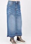 Morgan *Girls* Long Modest Denim Skirt *Indigo Wash*