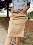 Colored Denim Elastic Waist Skirt *Khaki*