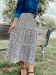 Perfect Cheetah Print Tiered Skirt Navy/Cream