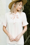 Vintage Inspired Bow Tie Blouse *Cream*
